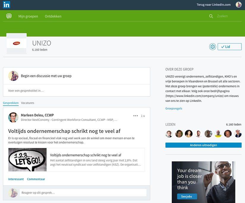 Unizo LinkedIn Groep