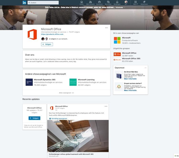 Voorbeeld LinkedIn Showcasepagina Microsoft - Lincelot