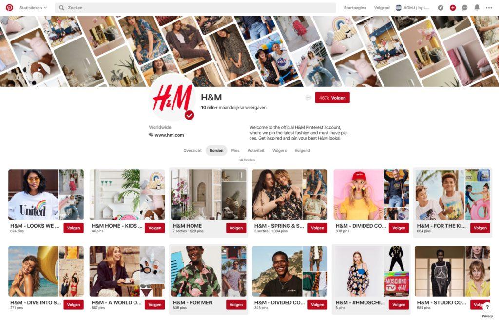 Wat is Pinterest en wat zijn de voordelen voor je bedrijf - Voorbeeld Boards HM