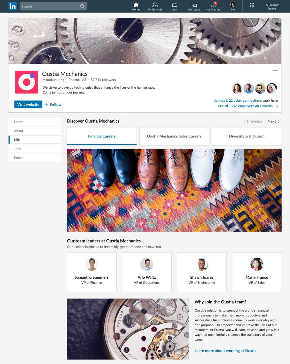 LinkedIn pages - career pages jobs life tabs - Lincelot