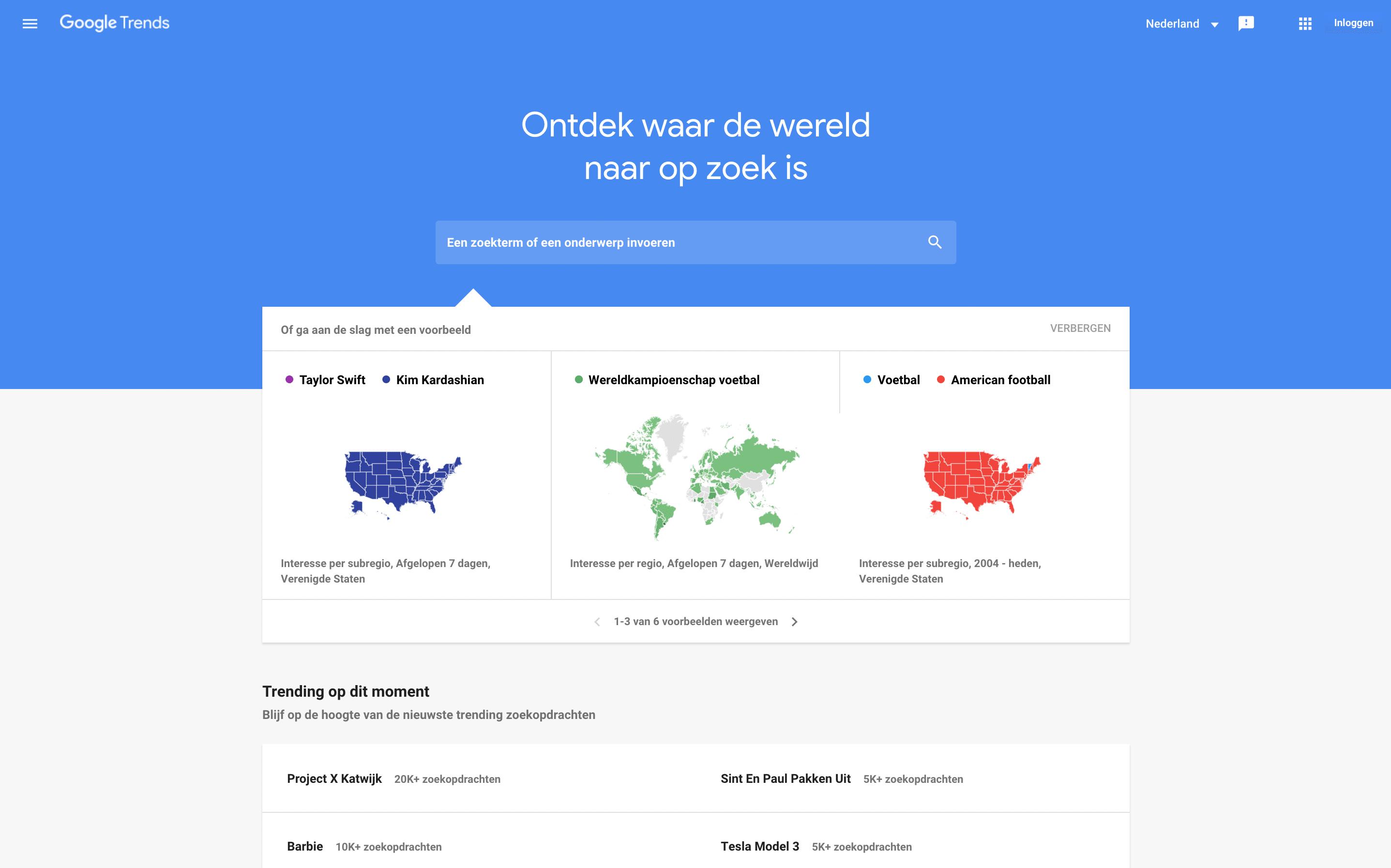 Google Trends startscherm - Lincelot